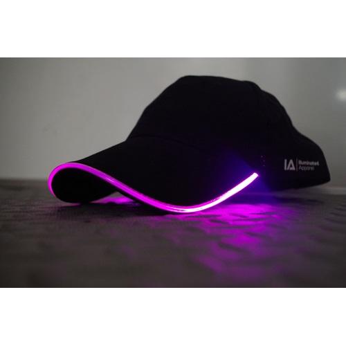 IA LED Light Up Baseball Cap - Black with Pink Light
