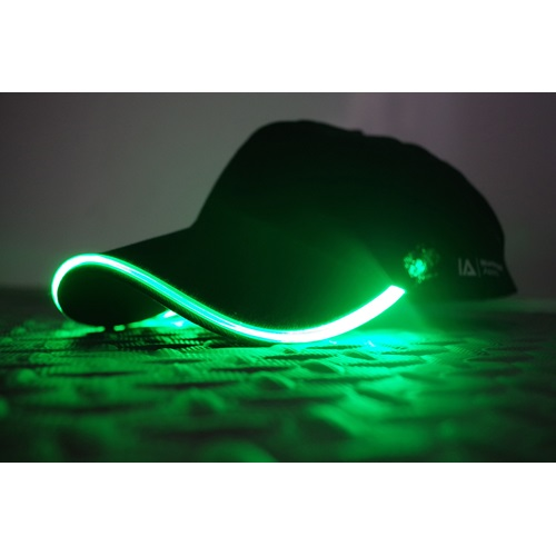 IA LED Light Up Baseball Cap - Black with Green Light