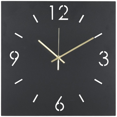 Spinder Design Time Square Wall Mounted Clock 40x40 - Black