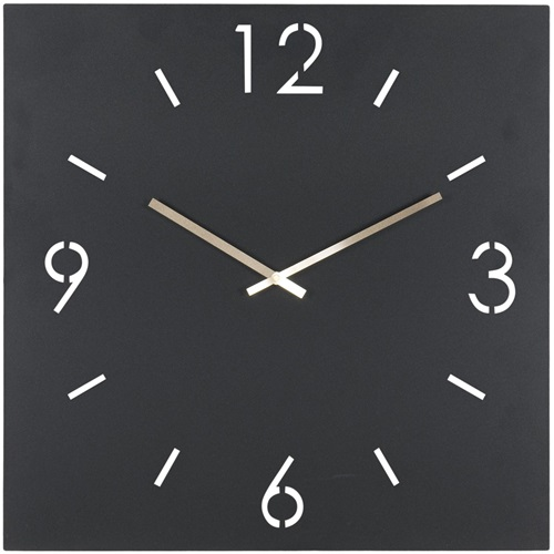 Spinder Design Time Wandklok Vierkant 60x60 - Zwart