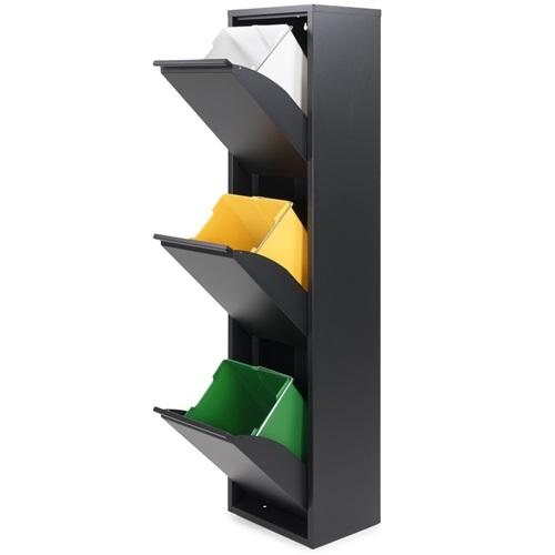 Spinder Design Gigi 3 Abfalltrenner 33.5x25x136 - Schwarz