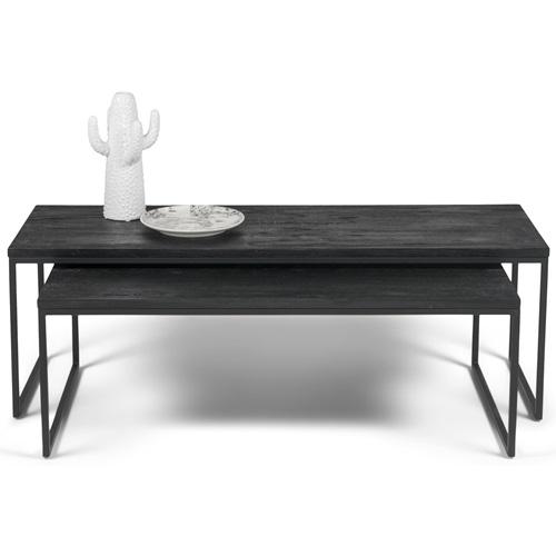 Spinder Design Daniel Couchtisch Set 119x55x40 - Schwarz