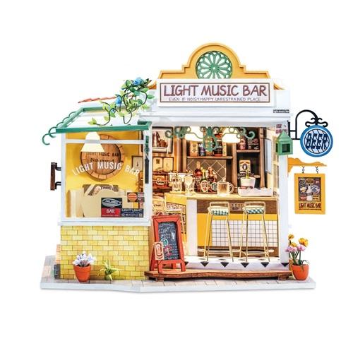 Robotime Licht Muziek Bar DG147 - Houten modelbouw - Poppenhuis - DIY
