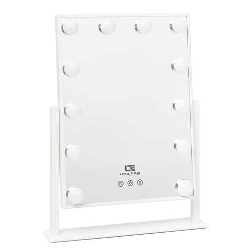 United Entertainment Hollywood Mirror with 12 LED Light Bulbs - White
