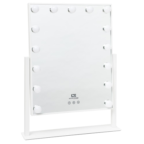 United Entertainment Hollywood Mirror with 15 LED Light Bulbs - White
