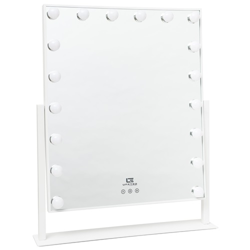 United Entertainment Hollywood Mirror with 18 LED Light Bulbs - White