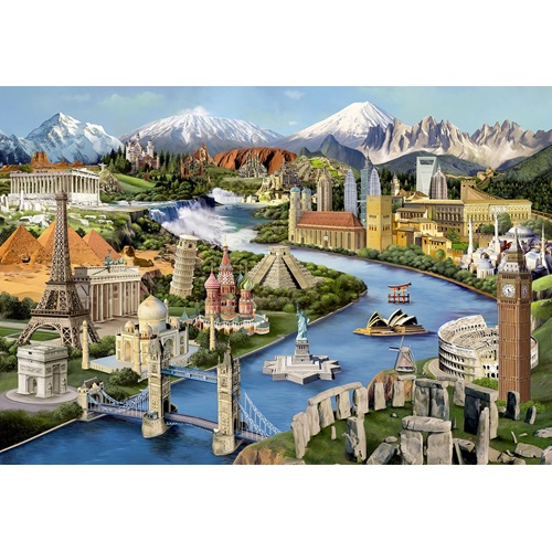 Wooden City World Landmarks XL - Shaped Jigsaw Puzzle Wood - 52x38 cm - 600 pieces