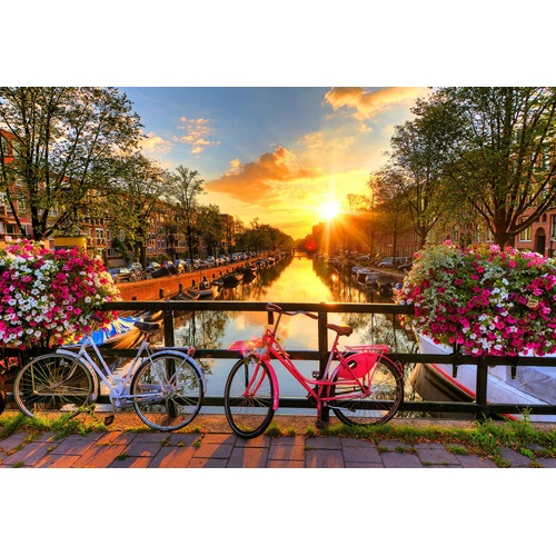 Wooden City Bicycles of Amsterdam XL - Shaped Jigsaw Puzzle Wood - 52x38 cm - 600 pieces