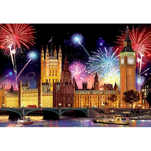Wooden City London by Night XL - Shaped Jigsaw Puzzle Wood - 52x38 cm - 600 pieces