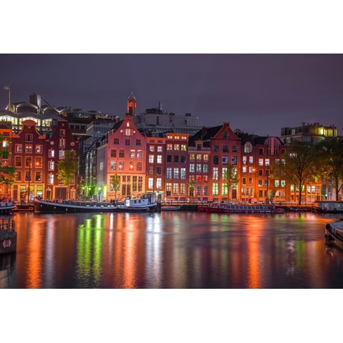 Wooden City Amsterdam by Night XL - Shaped Jigsaw Puzzle Wood - 52x38 cm - 600 pieces