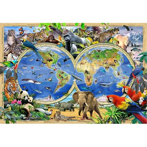 Wooden City Animal Kingdom Map XL - Shaped Jigsaw Puzzle Wood - 52x38 cm - 600 pieces